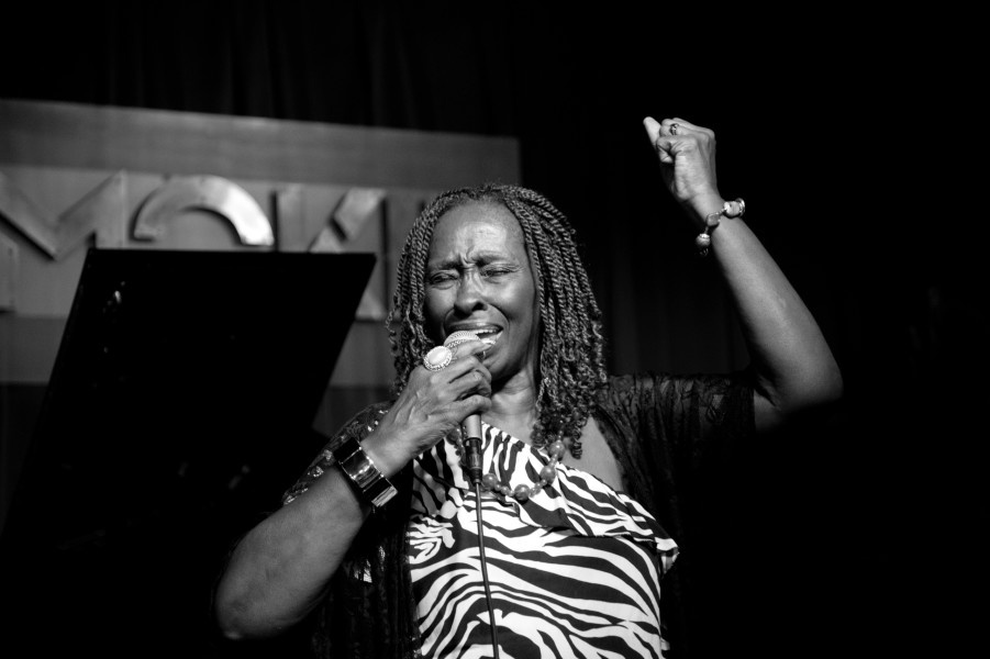 Ben Asen Editorial Photo: Black & white Annette St. John, singer performing at Smoke, the jazz club in New York City