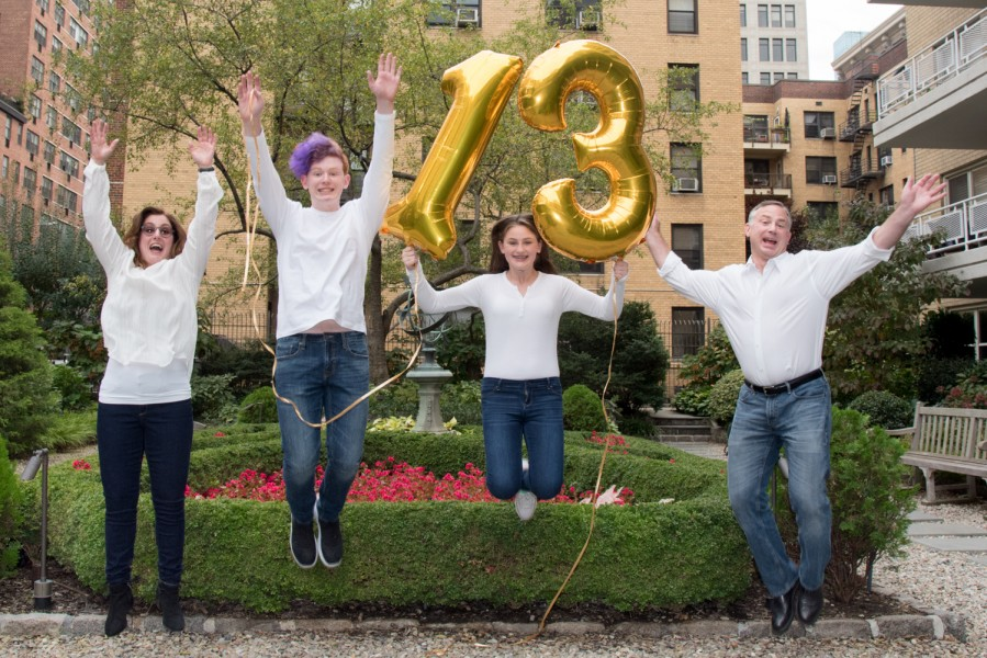 Ben Asen Celebration Photo: Bas Mitzvah Family Jumping with number 13