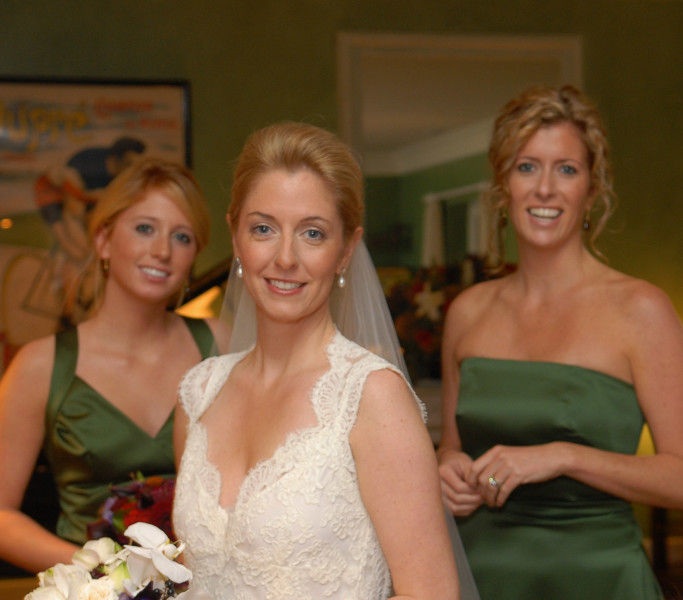 Ben Asen Celebration Photo: Color photo of bride with 2 bridesmaids