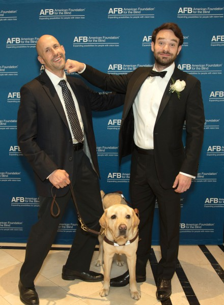 Ben Asen Event Photo: Actor, Charlie Cox, star of TV show Dare Devil with guide dog and dog trainer at The American foundation for the Blind Hellen Keller Wards