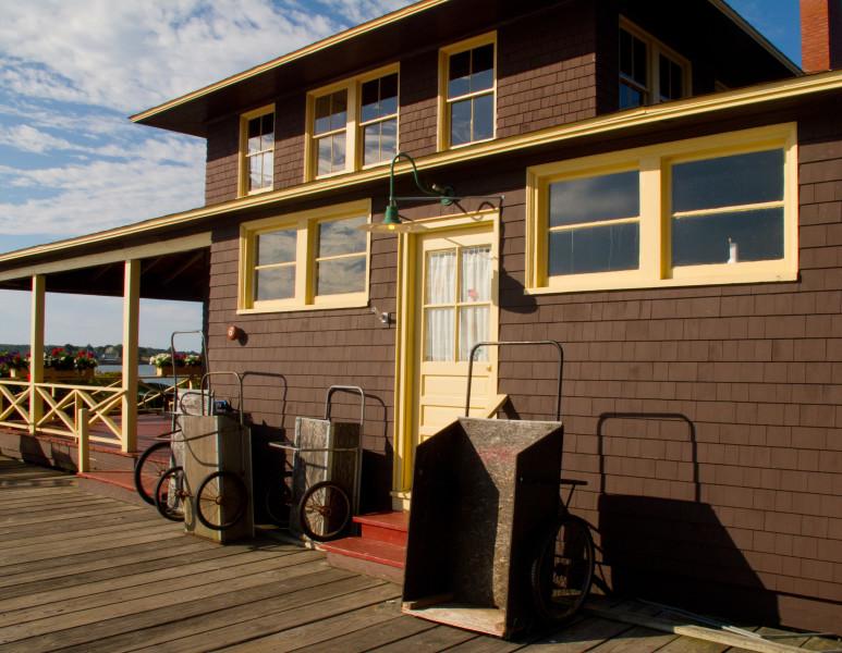 Ben Asen Personal Work Photo: Color photo of Little Diamond Island Casino, Little Diamond Maine on a Casco Bay dock.