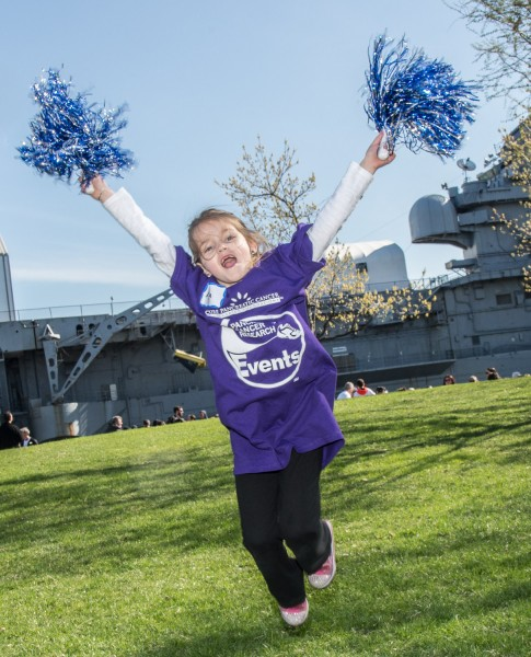Ben Asen Event Photo: Lustgarten Foundation for Pancreatic Cancer Research young girl cheerleader at New York City Walk