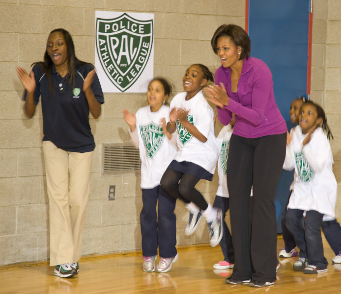 Ben Asen Event Photo: First Lady Michelle Obama's Let's Move Program At The Police Athletic League of New York with New York City exercising with kids