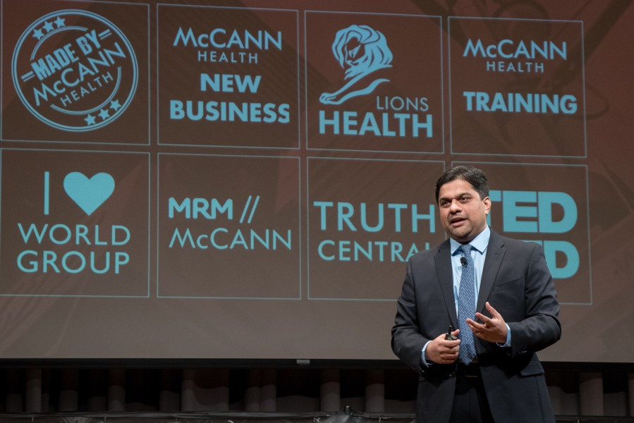 Ben Asen Event Photo: McCann Health President of Americas, Amar Urhekar speaking at McCann Health Staff Conference in New York City