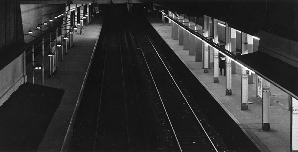 Ben Asen Personal Work Photo: Black and white photo of Newkirk Avenue Subway Station at night in Brooklyn, New York