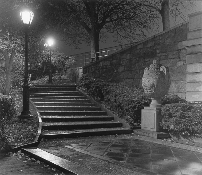 Ben Asen Personal Work Photo: Black and white photo at entrance steps to Central Park Reservoir in New York City at night.