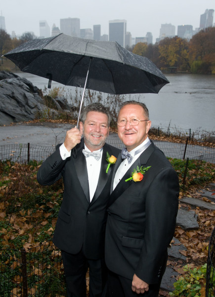 Ben Asen Celebration Photo: Same sex wedding for 2 men under umbrella in Central Park, New York City
