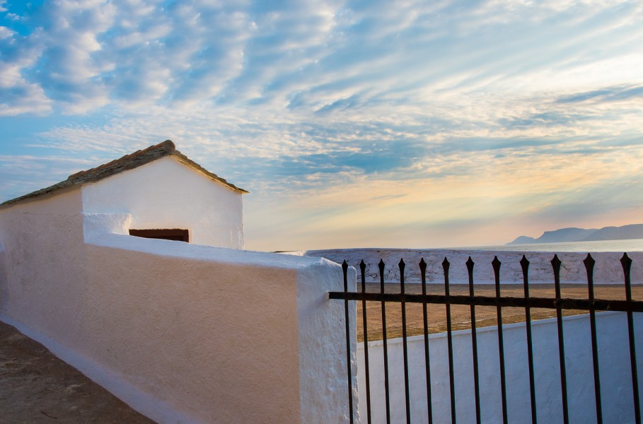 Ben Asen Personal Work Photo: color photo of a small white building at sunrise on Skopelos, Greece