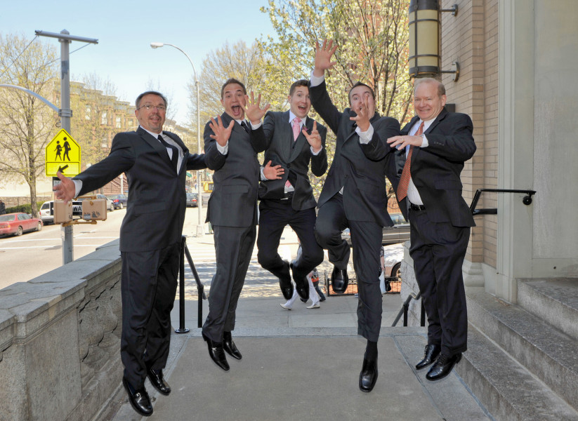 Ben Asen Celebrations Photo: Wedding, Groom jumping with ushers and best man